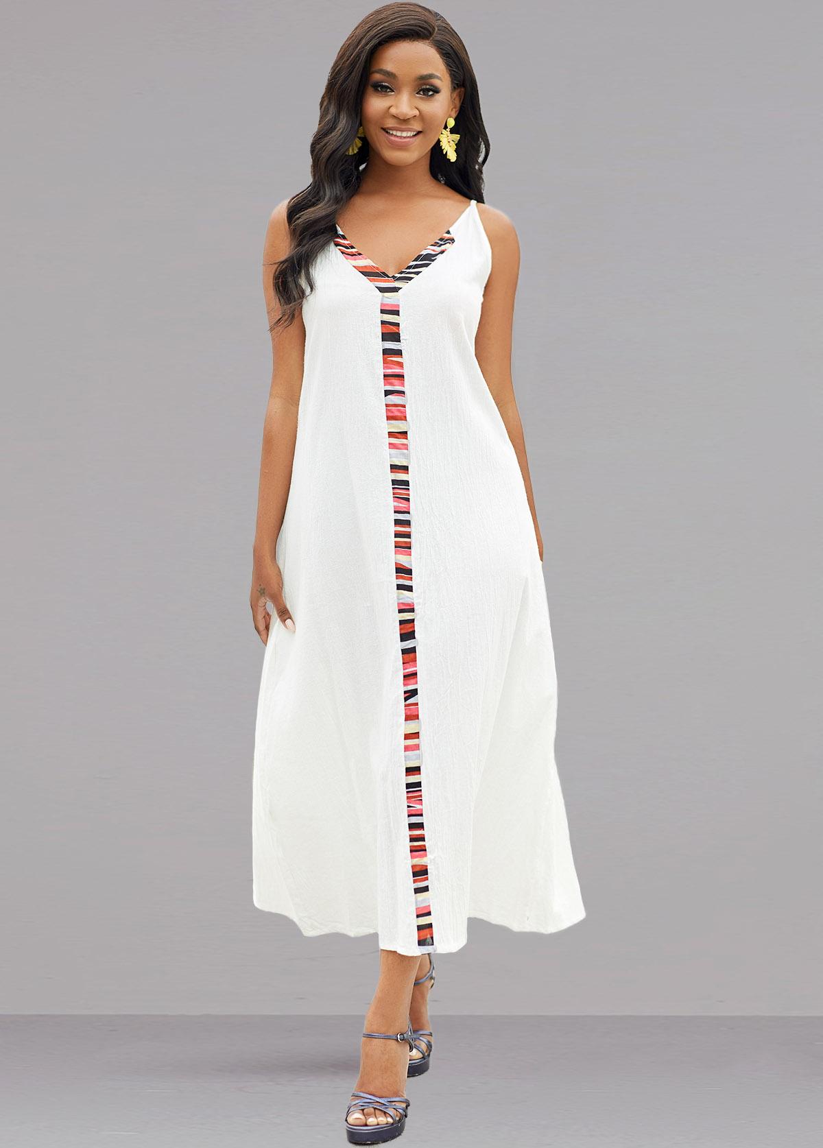 V Neck Rainbow Stripe Sleeveless Dress