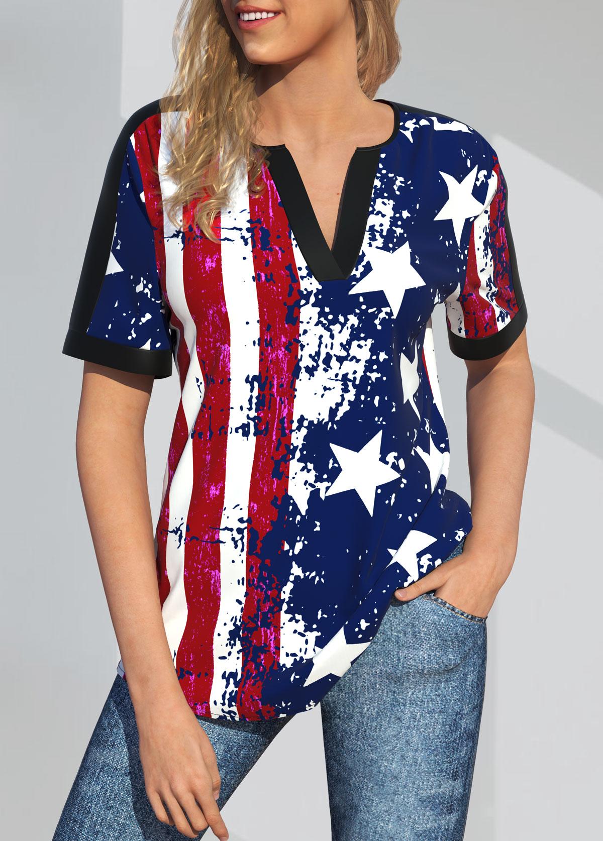 American Flag Print Split Neck Short Sleeve Blouse