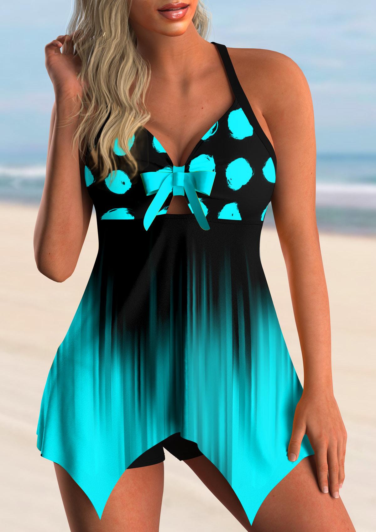Polka Dot Ombre Bowknot Swimdress and Shorts