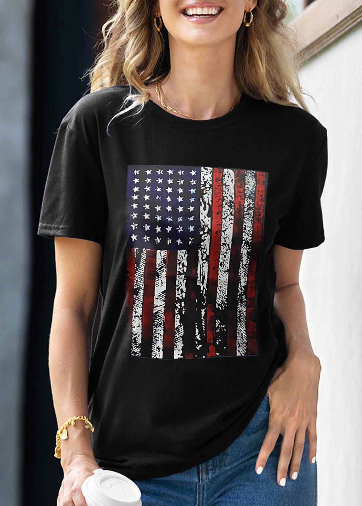 American Flag Print Round Neck Short Sleeve T Shirt