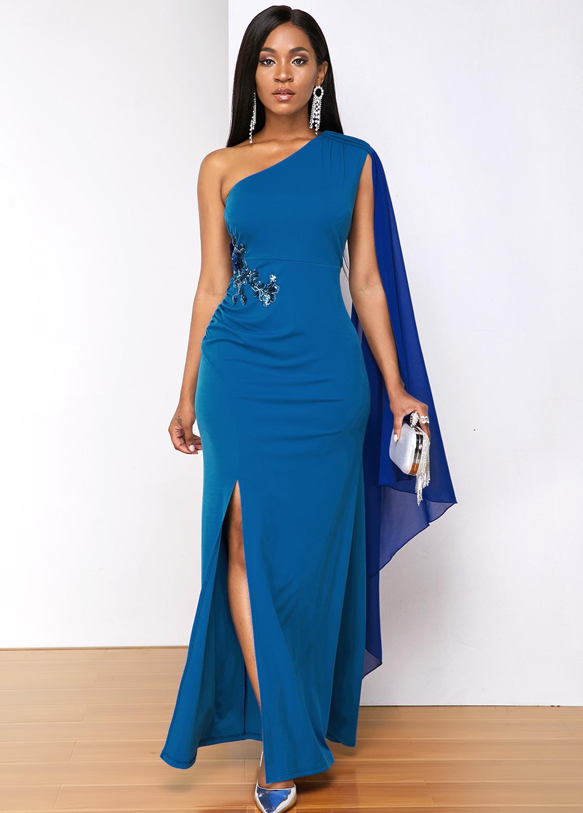 Blue Sequin Detail Side Slit Dress