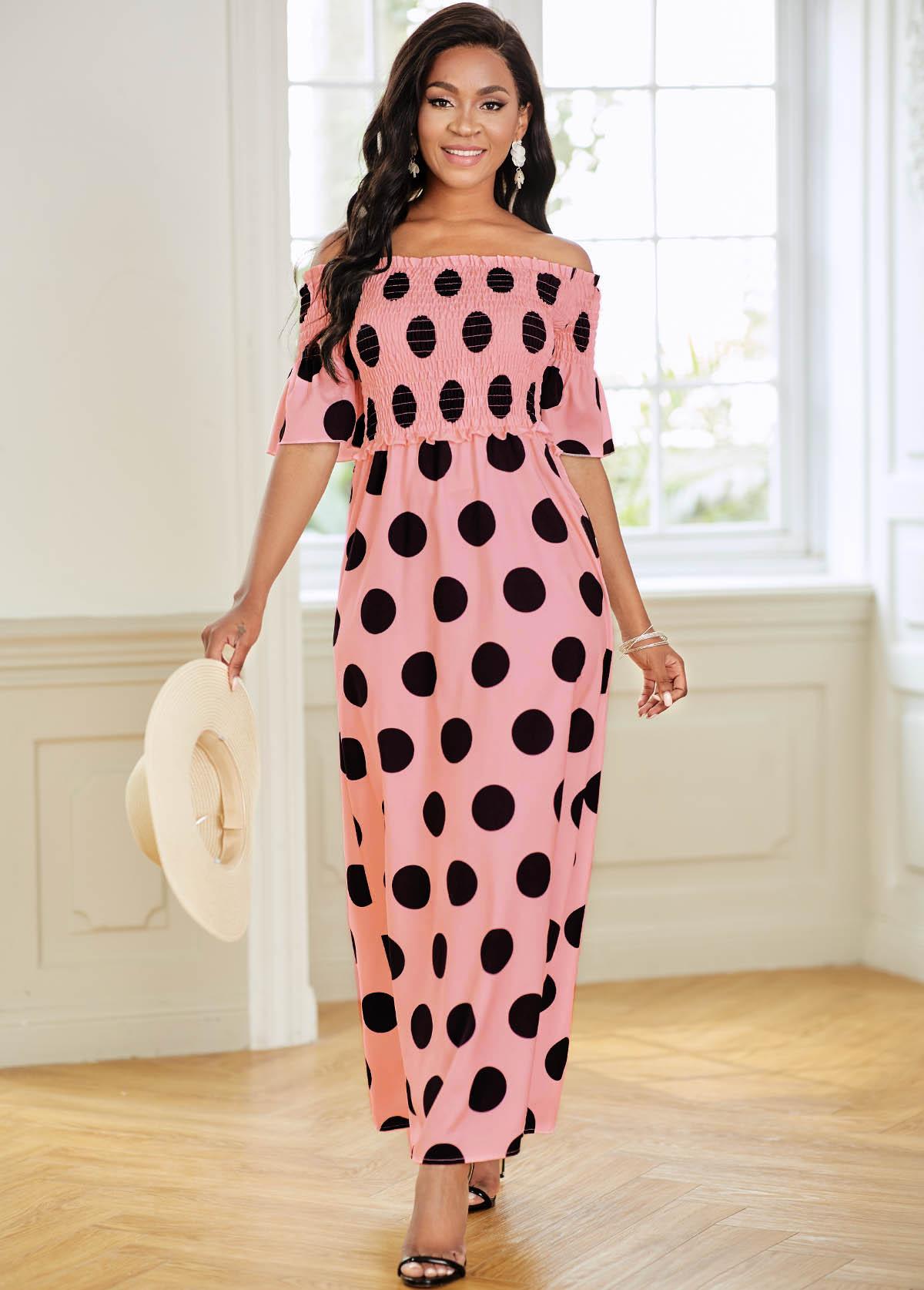Off Shoulder Polka Dot Smocked Dress