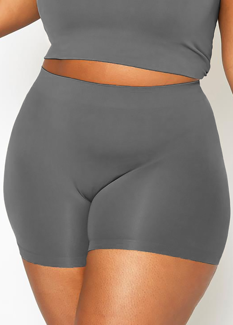 Plus Size High Waisted Solid Swim Shorts