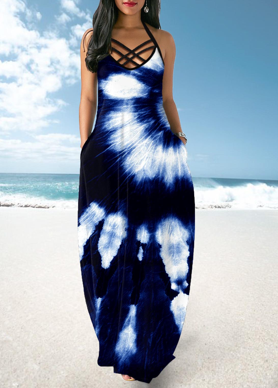 Cross Strap Halter Tie Dye Print Dress