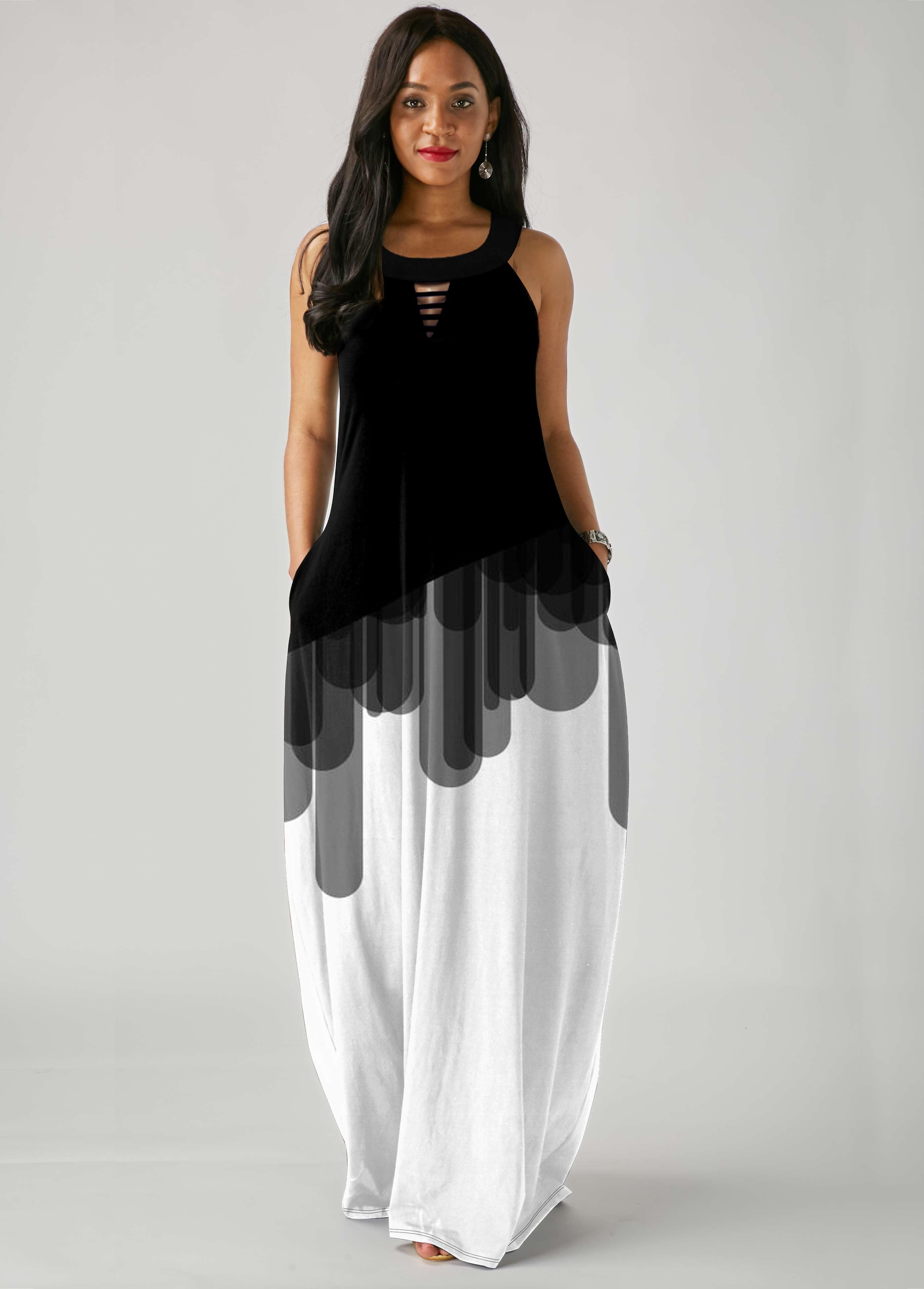 Color Block Ladder Cutout Sleeveless Dress