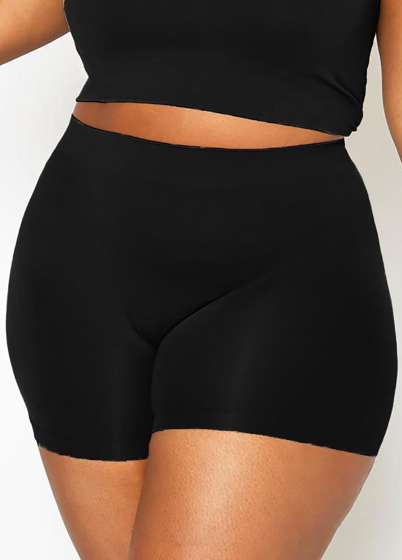 Plus Size High Waist Solid Swim Shorts