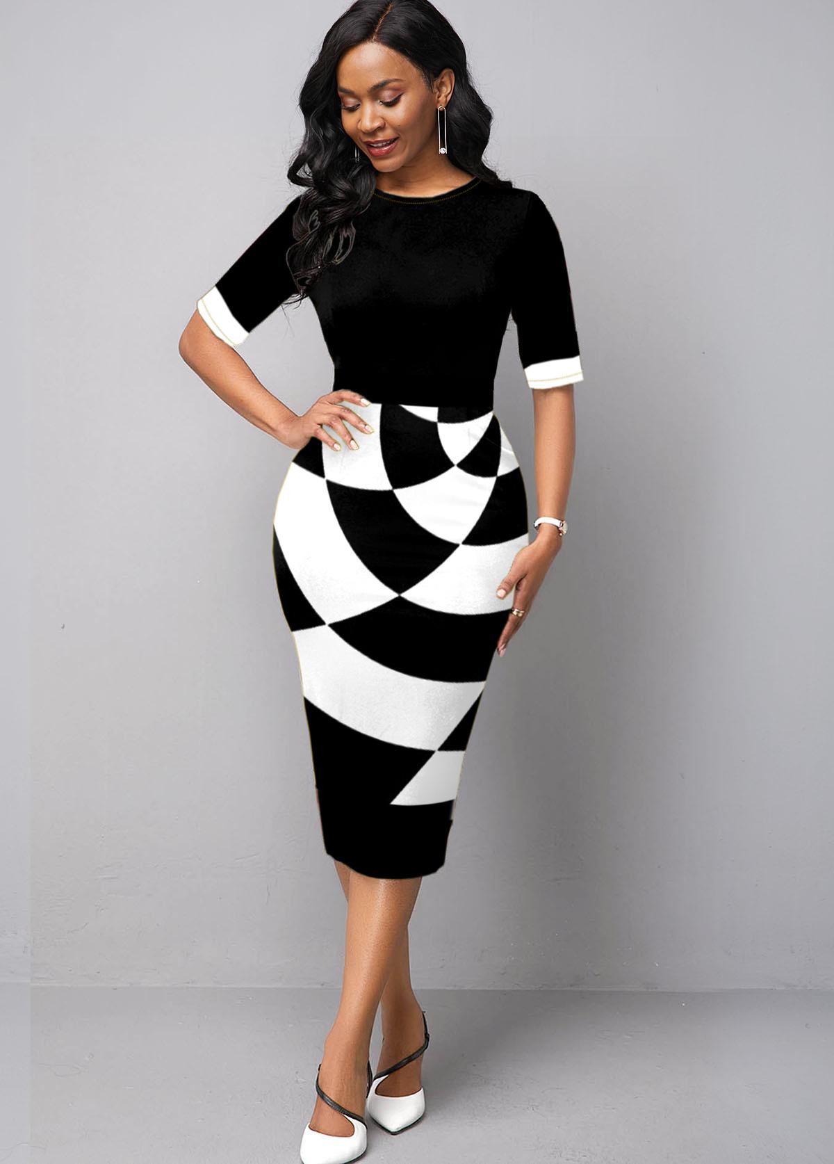 Geometric Print Round Neck Half Sleeve Bodycon Dress