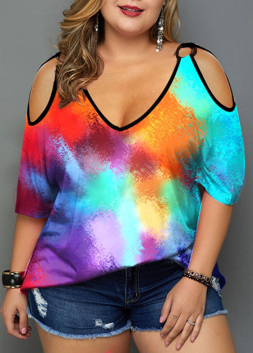 Multicolor Tie Dye Print Cold Shoulder Plus Size T Shirt