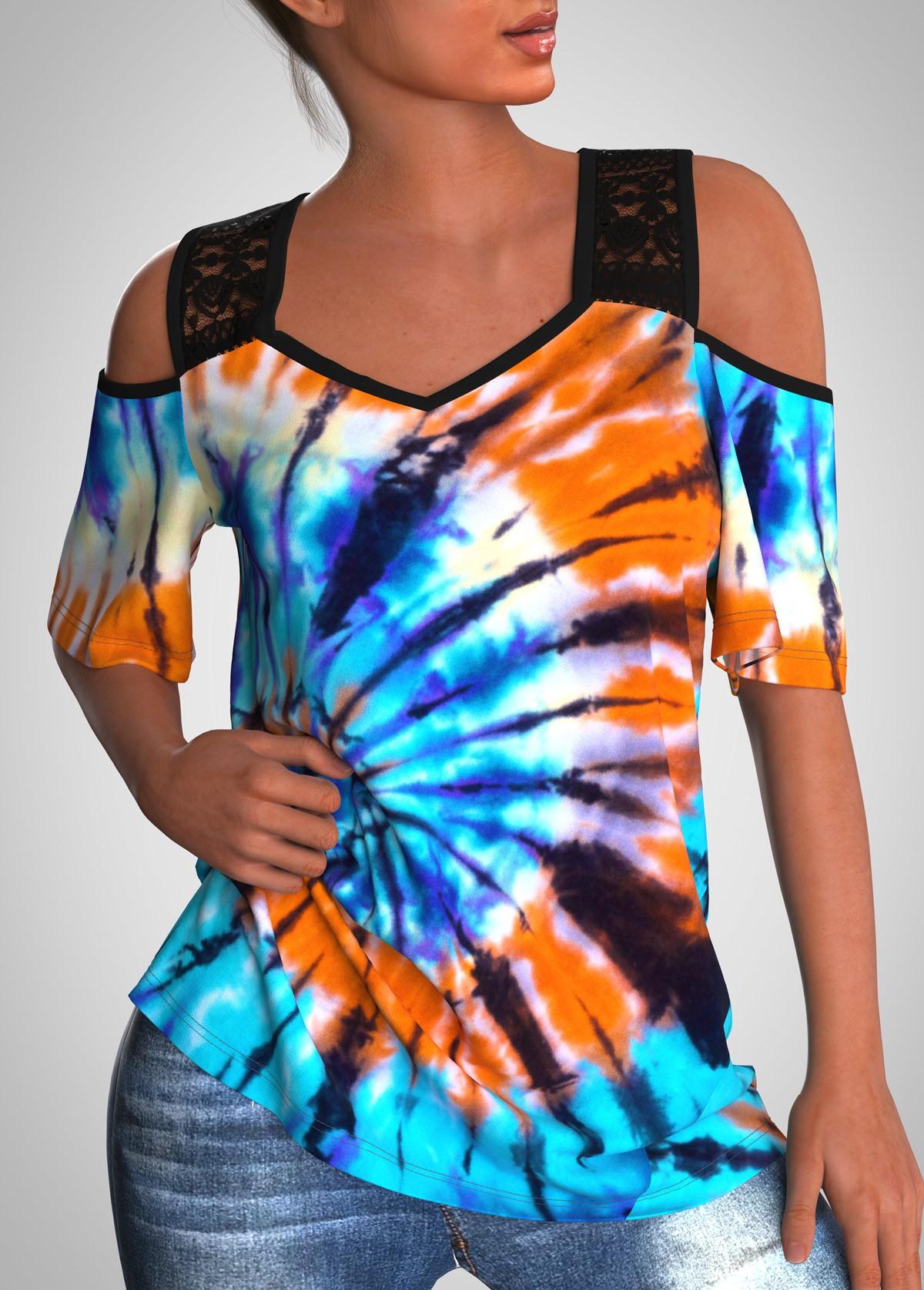Tie Dye Print Lace Stitching Half Sleeve T Shirt