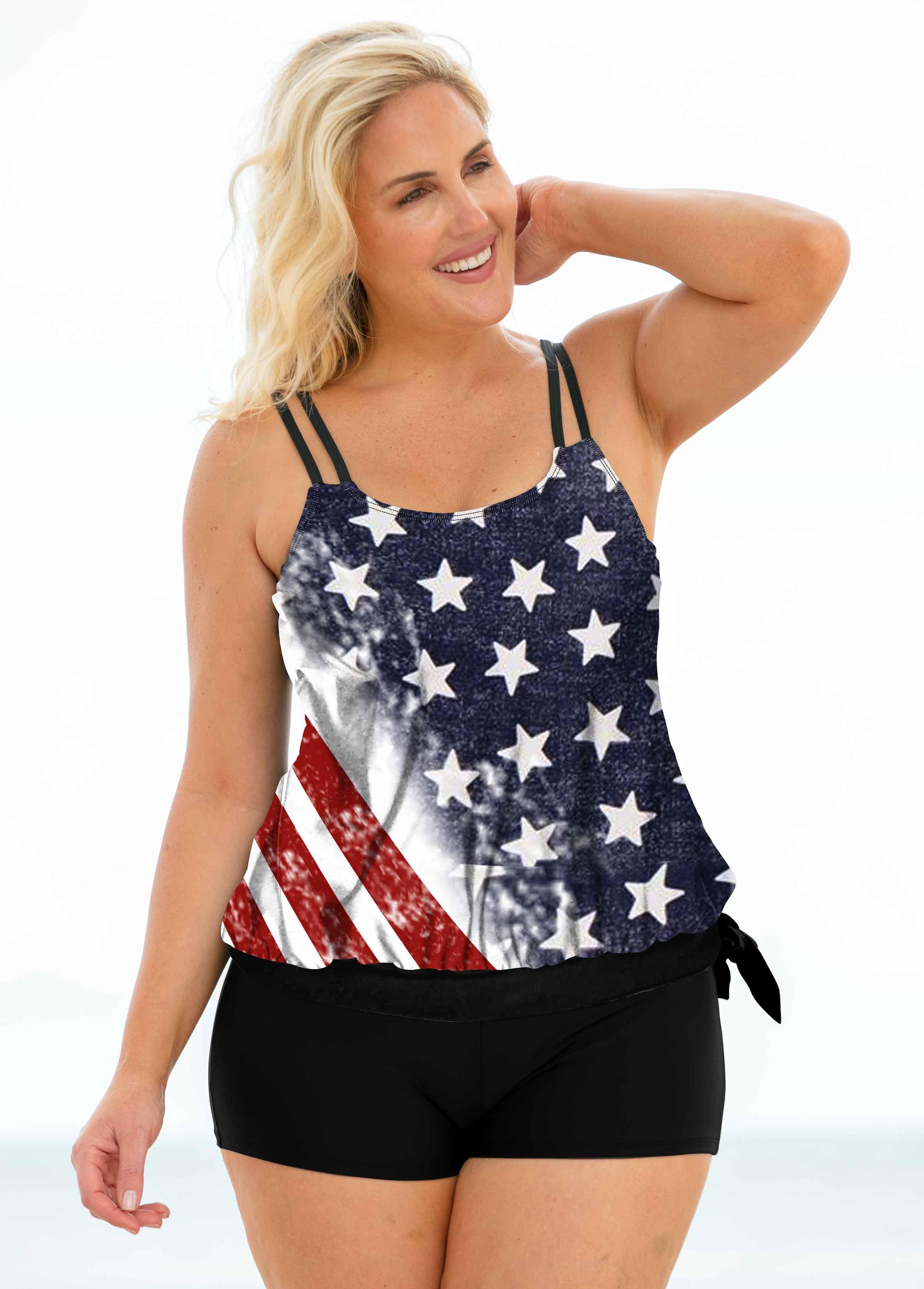 American Flag Print Double Straps Plus Size Tankini Set