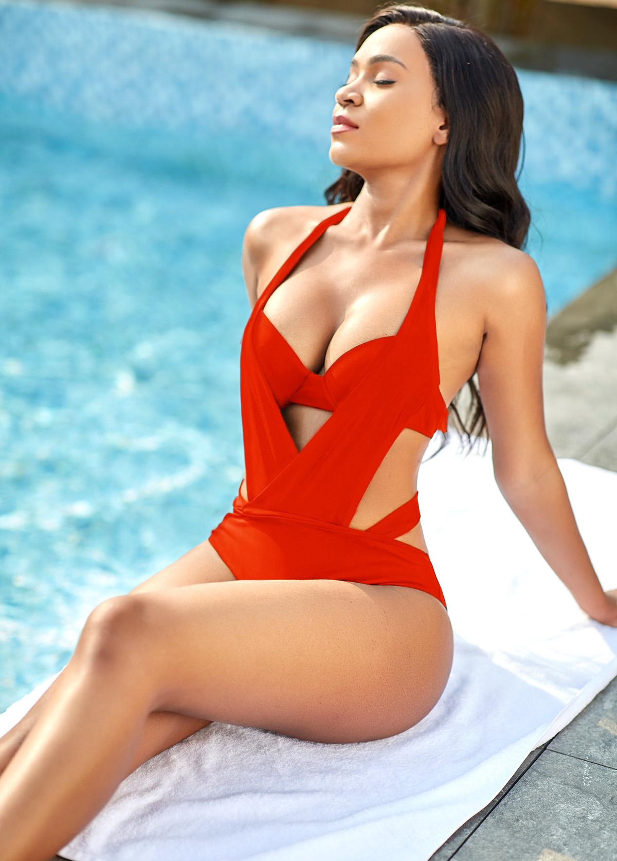 Red Halter Neck Pierced One Piece Swimwear
