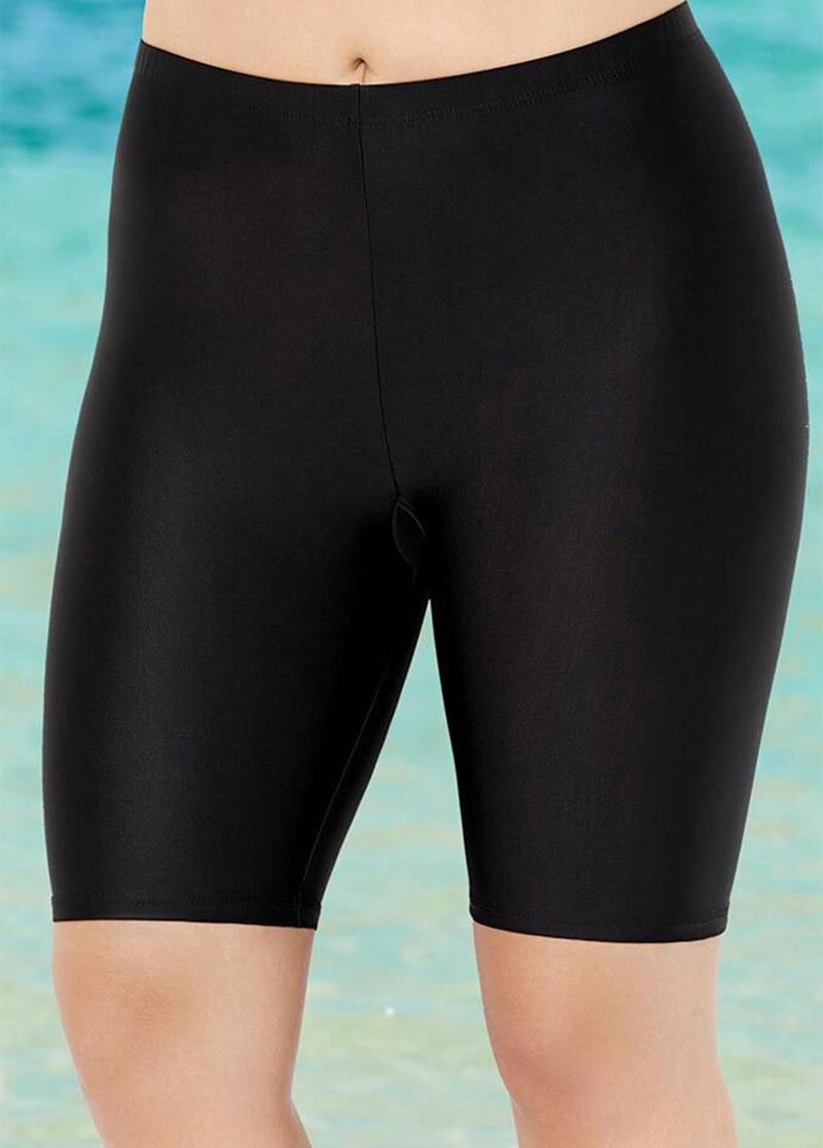 Mid Waist Solid Plus Size Swimwear Bottom