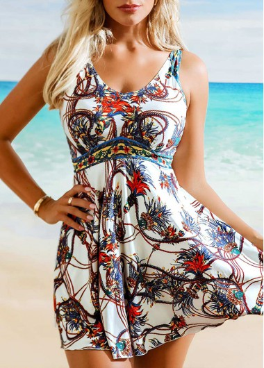 Modlily Floral Print Wide Strap Swimdress and Shorts - L