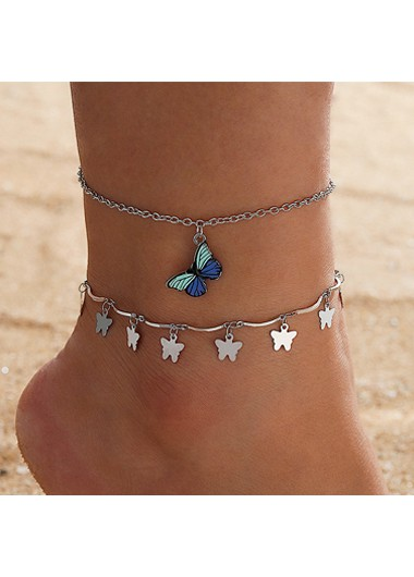 Butterfly Design Silver Metal Detail Anklets