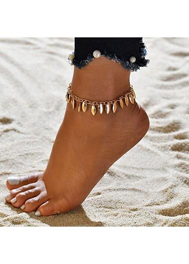Bohemia Design Gold Metal Detail Anklet