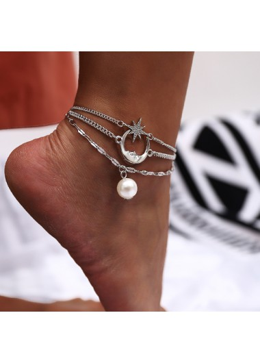 Moon and Star Pendant Pearl Design Anklet