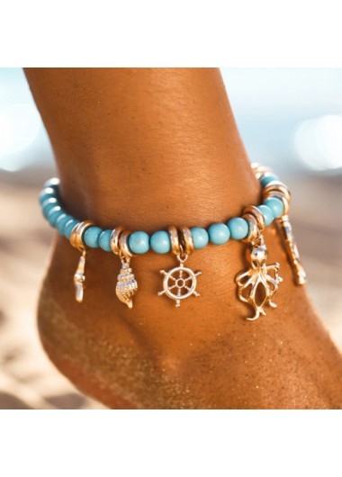Conch Rudder and Octopus Pendant Metal Detail Anklet