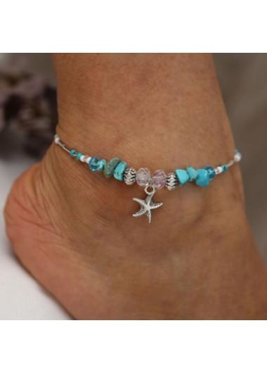 Starfish Pendant Turquoise Metal Detail Anklet