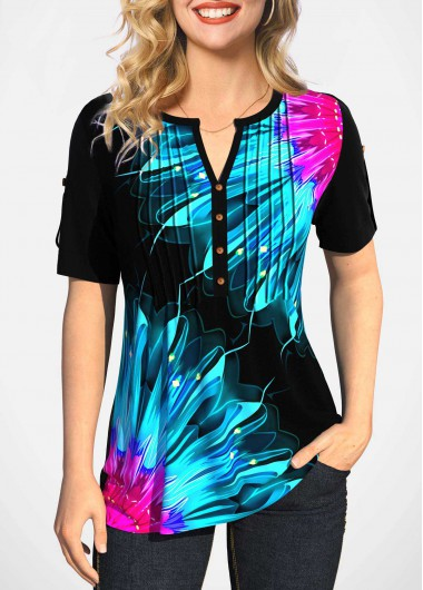 Modlily Split Neck Short Sleeve Colorful Printed Blouse - XXL