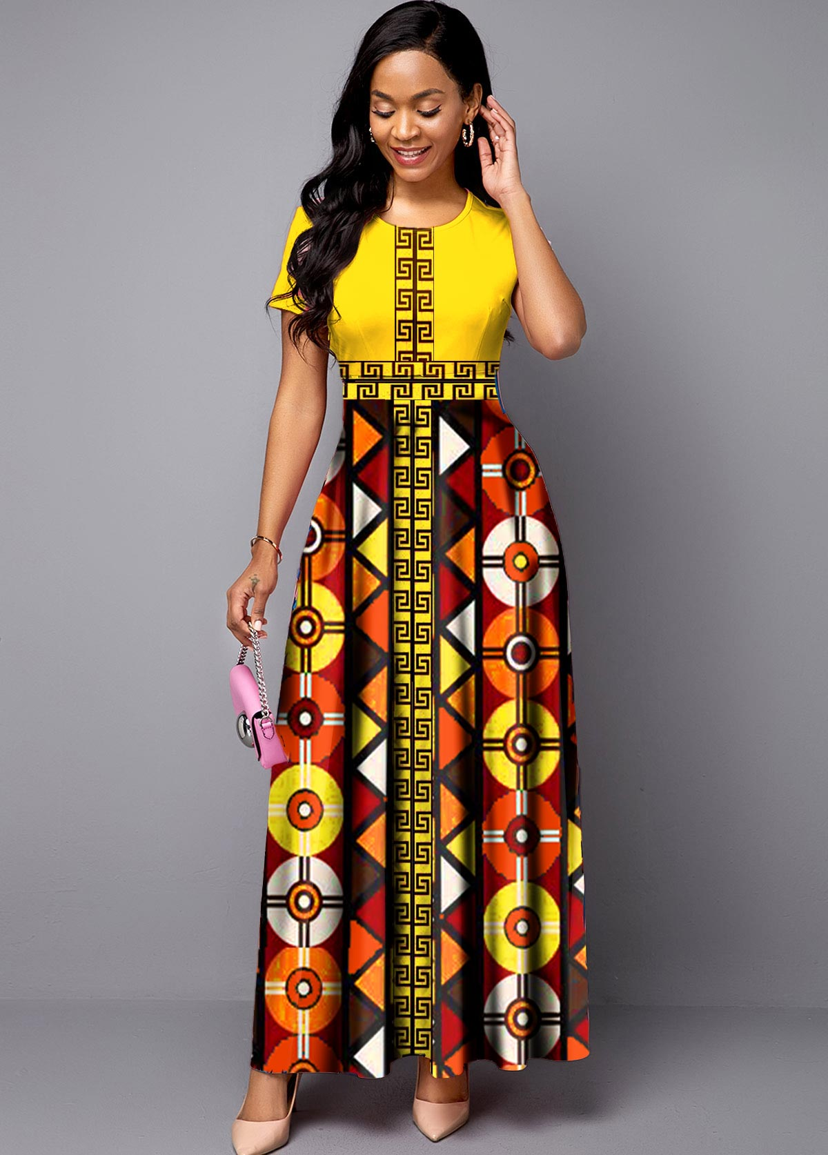 Bohemian Print Round Neck Short Sleeve Maxi Dress