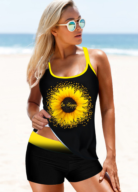 Strappy Back Sunflower Print Black Tankini Set