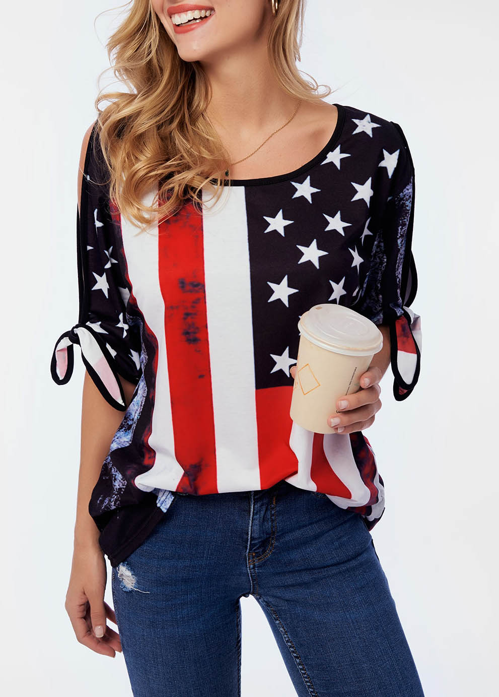 American Flag Print Cold Shoulder T Shirt