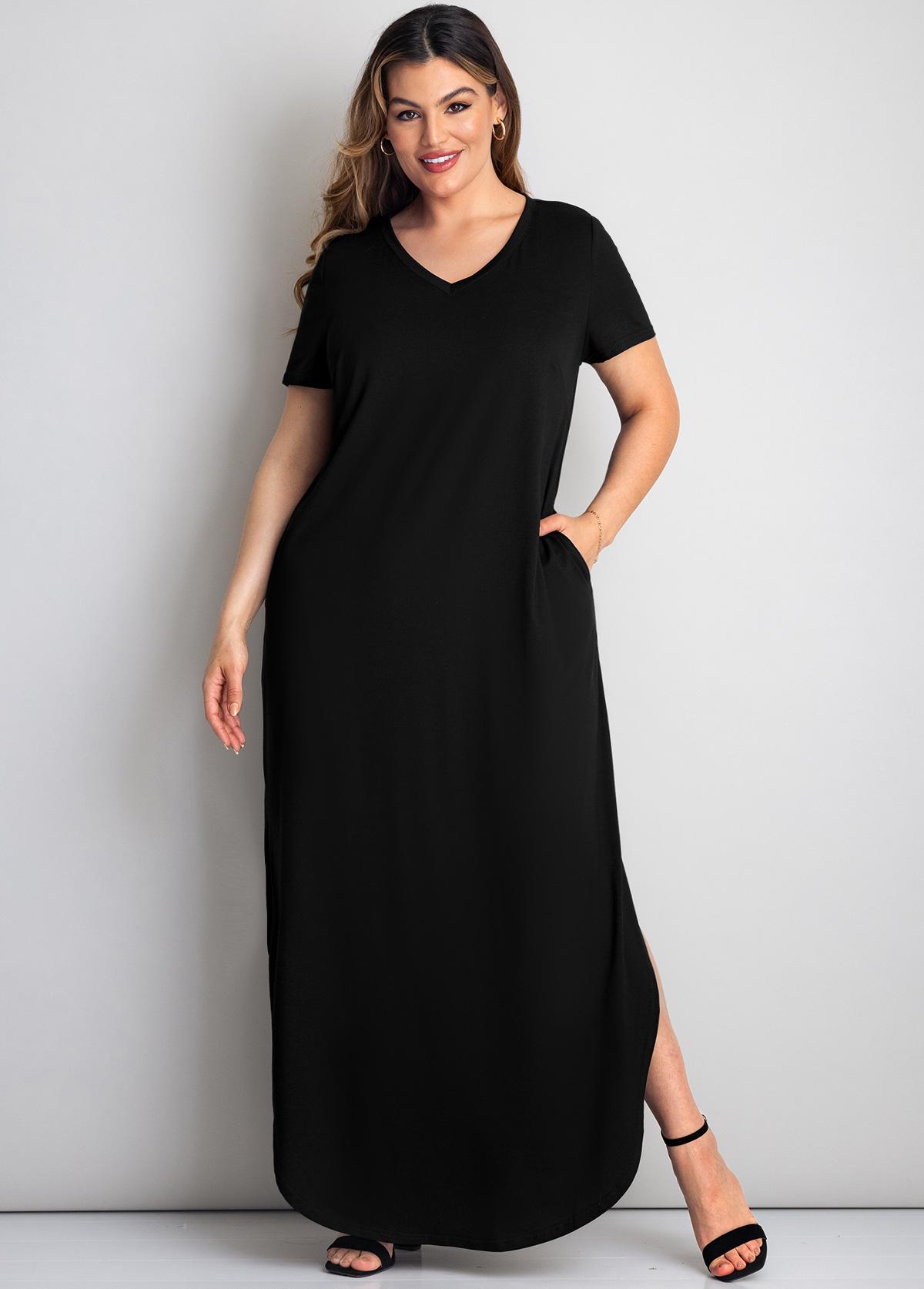 Plus Size Pocket Detail V Neck Dress