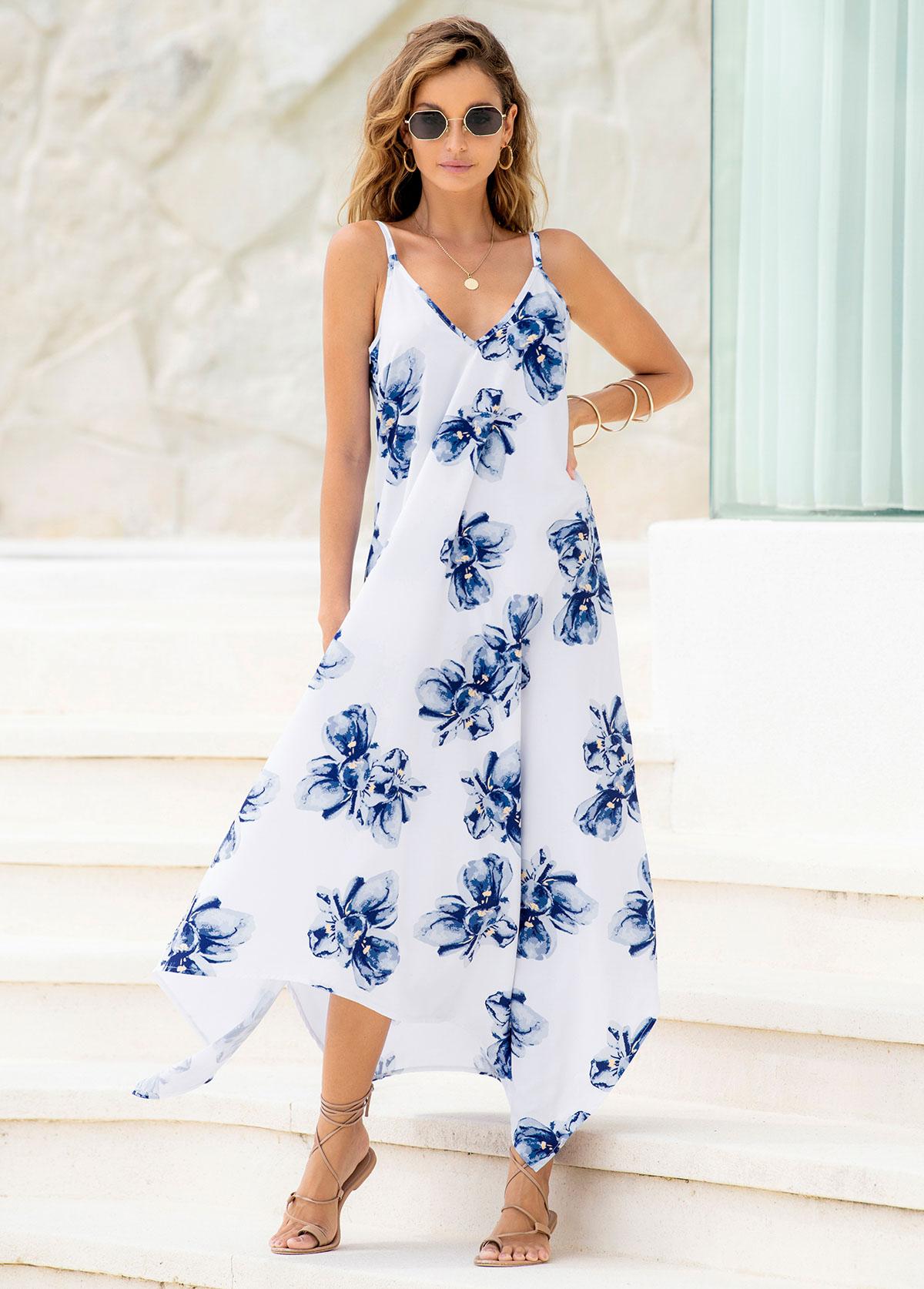 Asymmetric Hem Floral Print Spaghetti Strap Dress