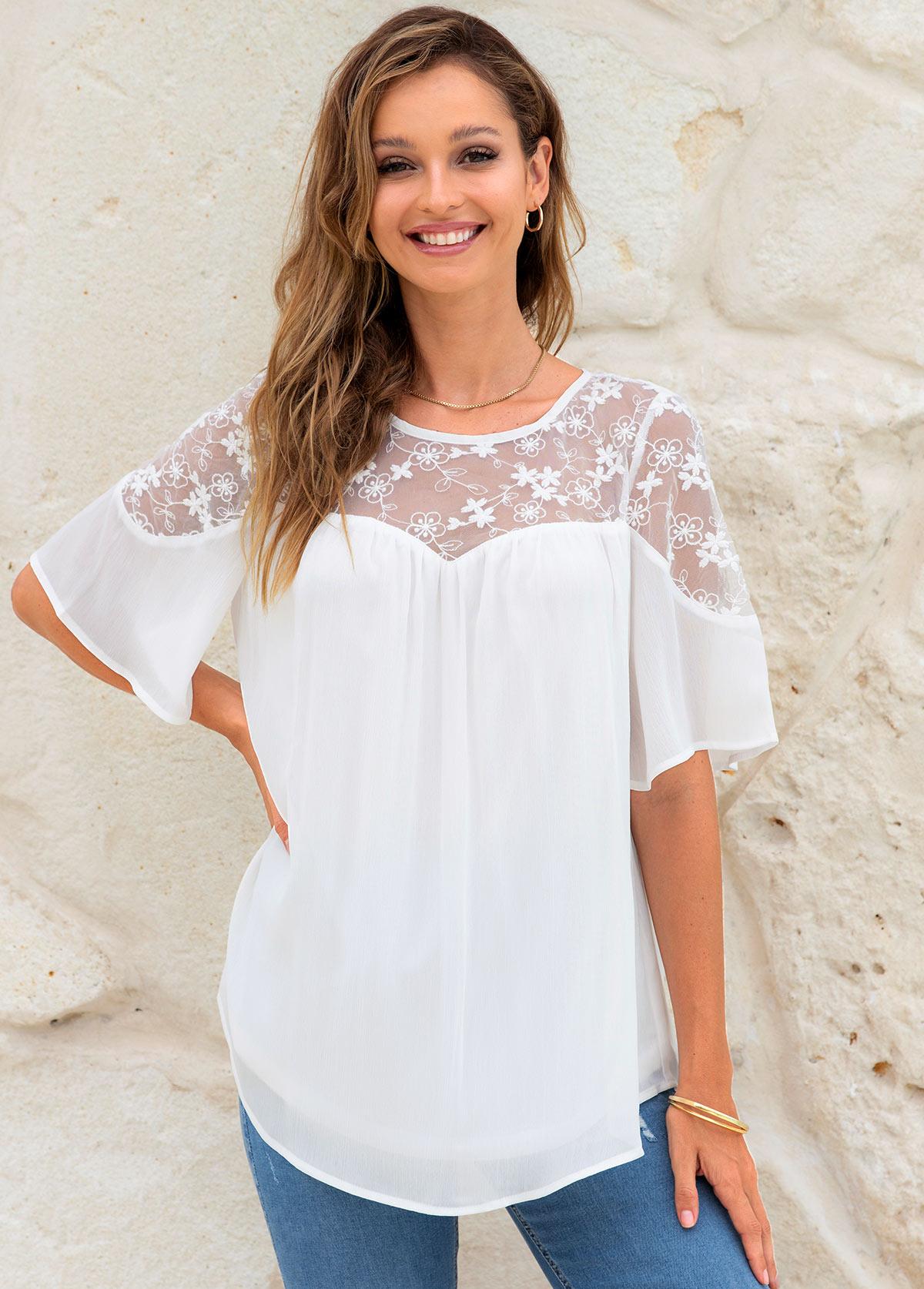 Lace Stitching Round Neck Short Sleeve Blouse
