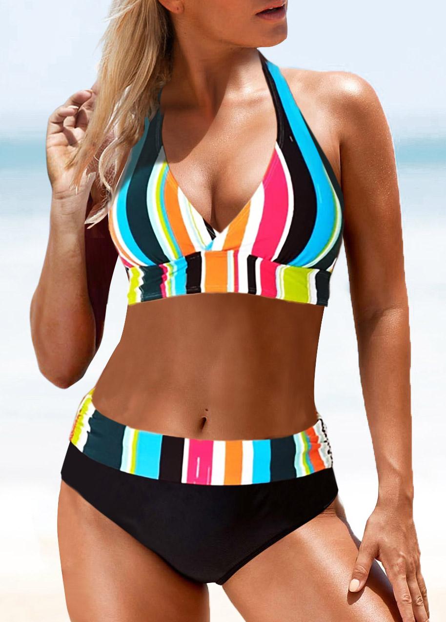 Halter Contrast Striped Mid Waist Bikini Set