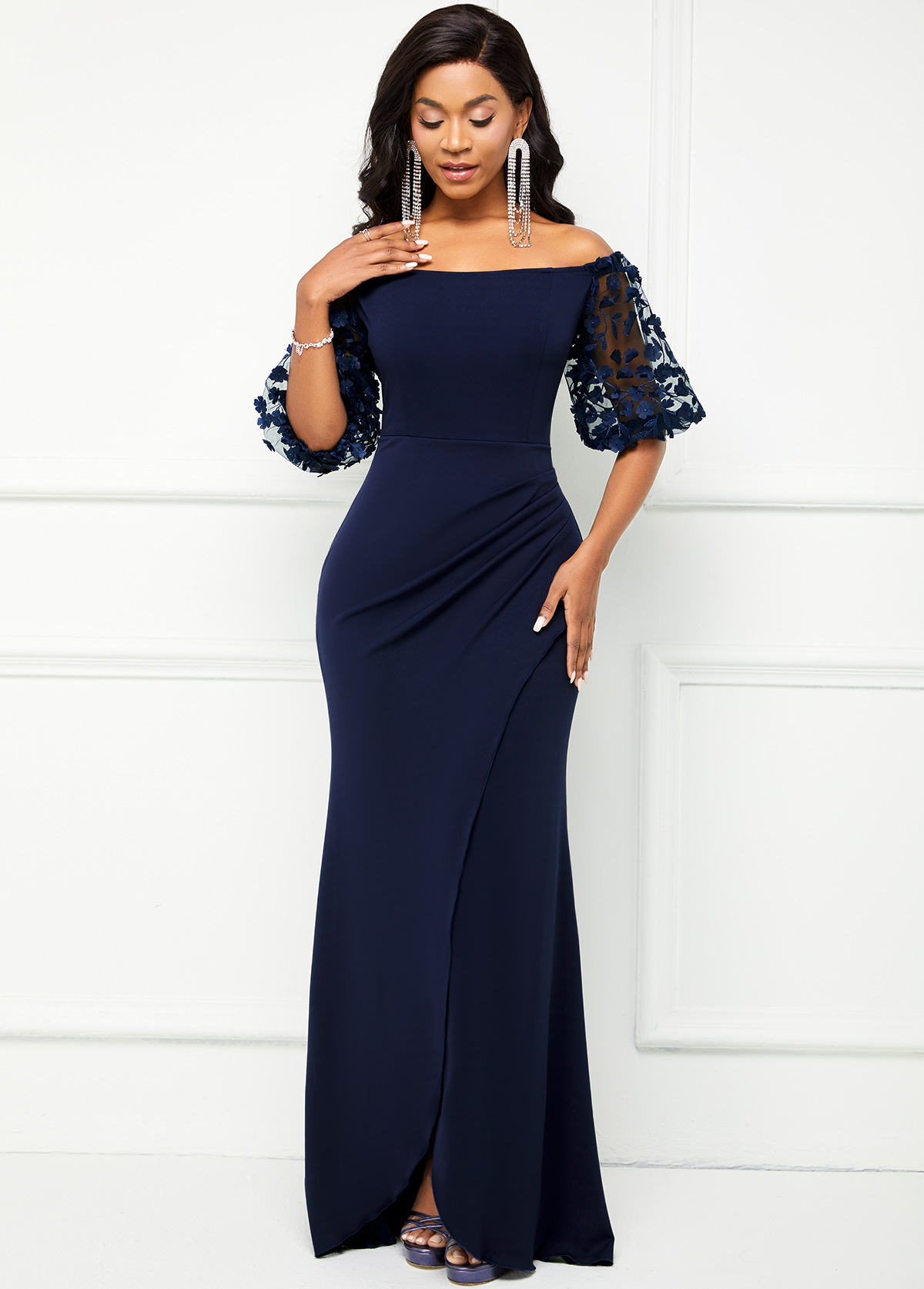 Off Shoulder Lace Stitching 3/4 Sleeve Dress