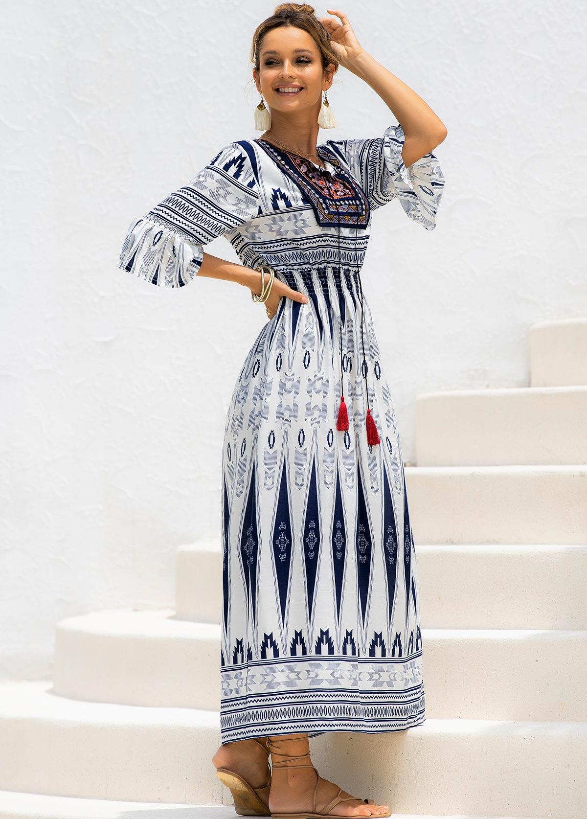 Tribal Print Tie Neck Flare Cuff Dress