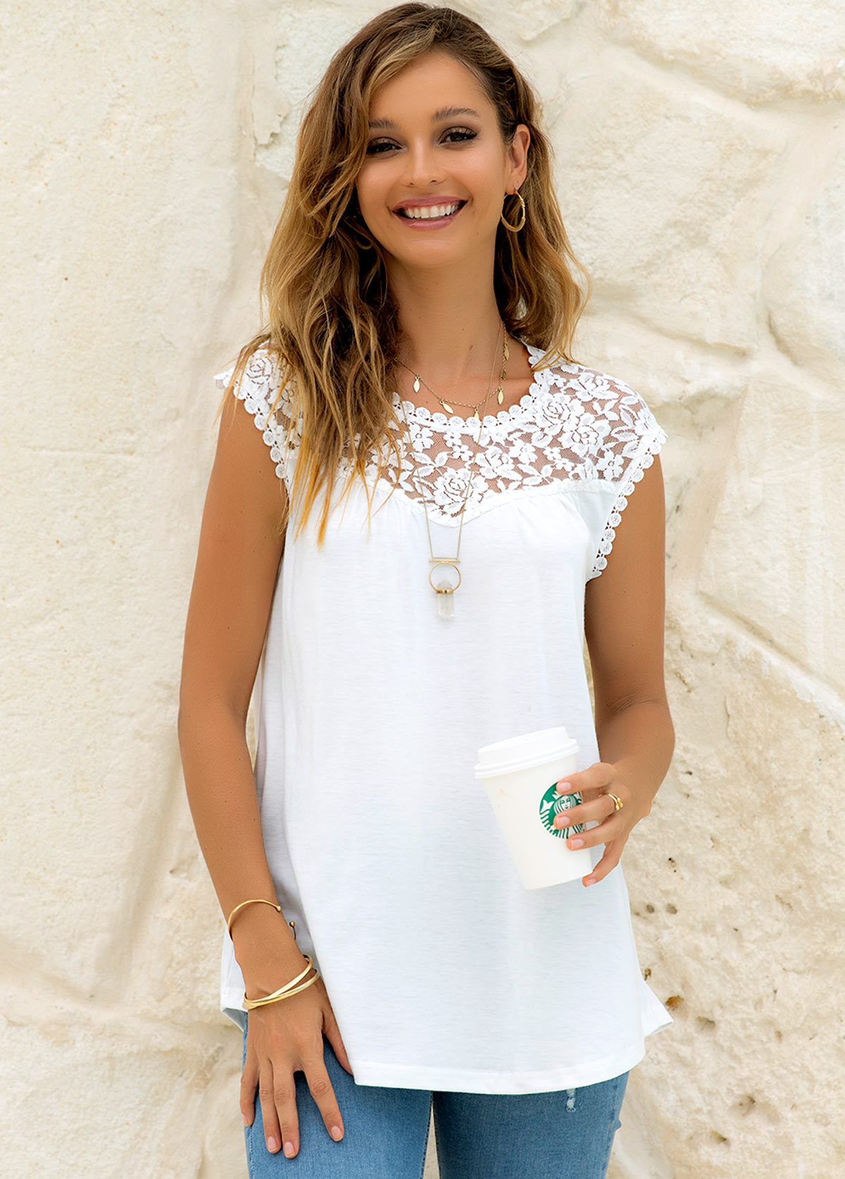 Lace Stitching Round Neck Solid Tank Top