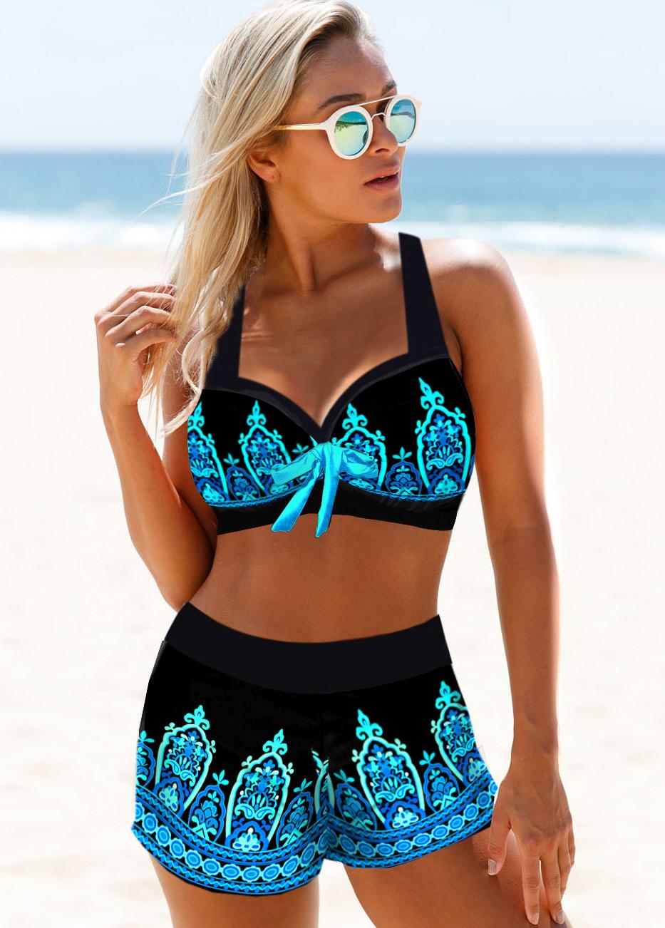 Tribal Print High Waisted Bikini Set