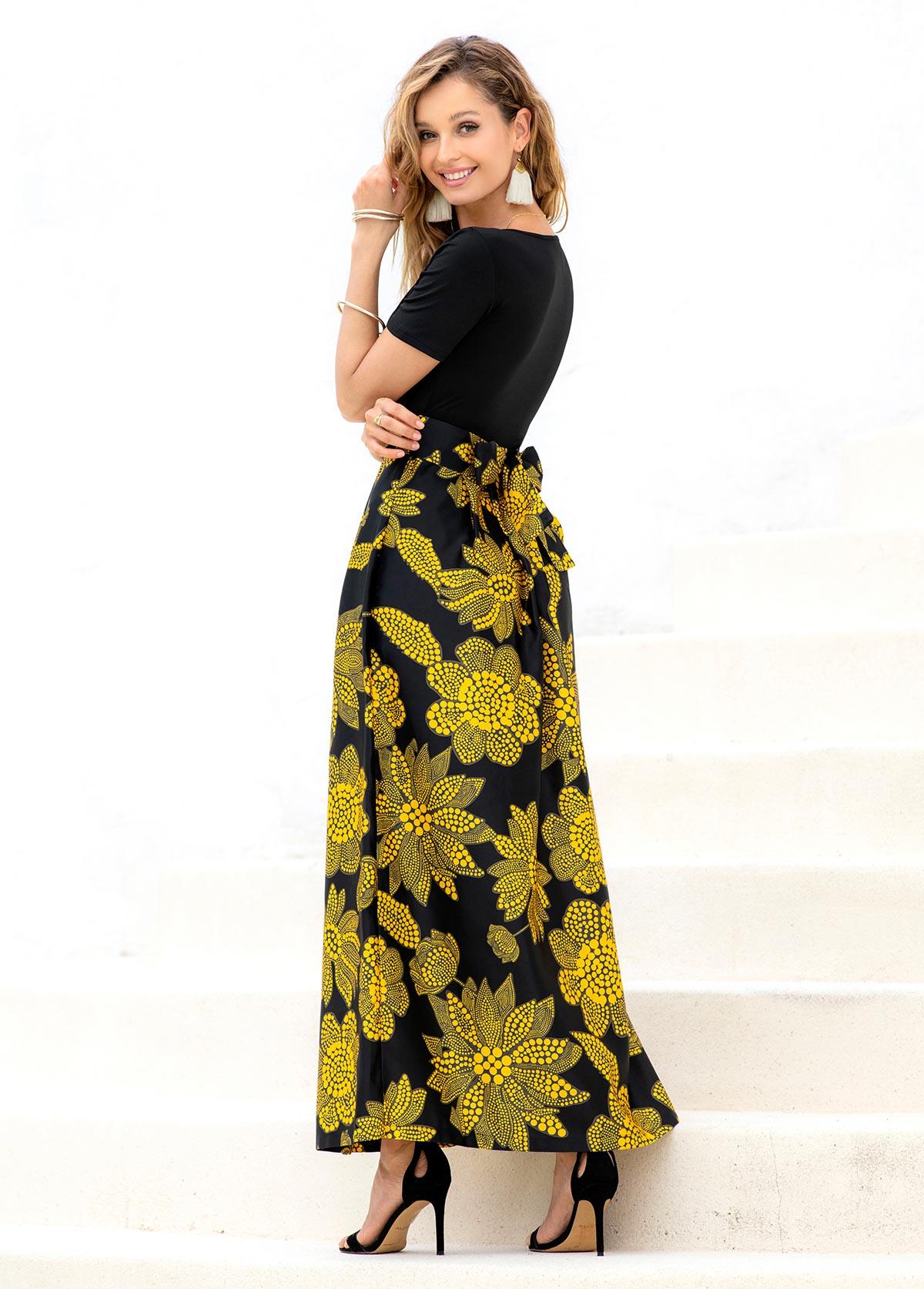 Floral Print V Neck Short Sleeve Dress