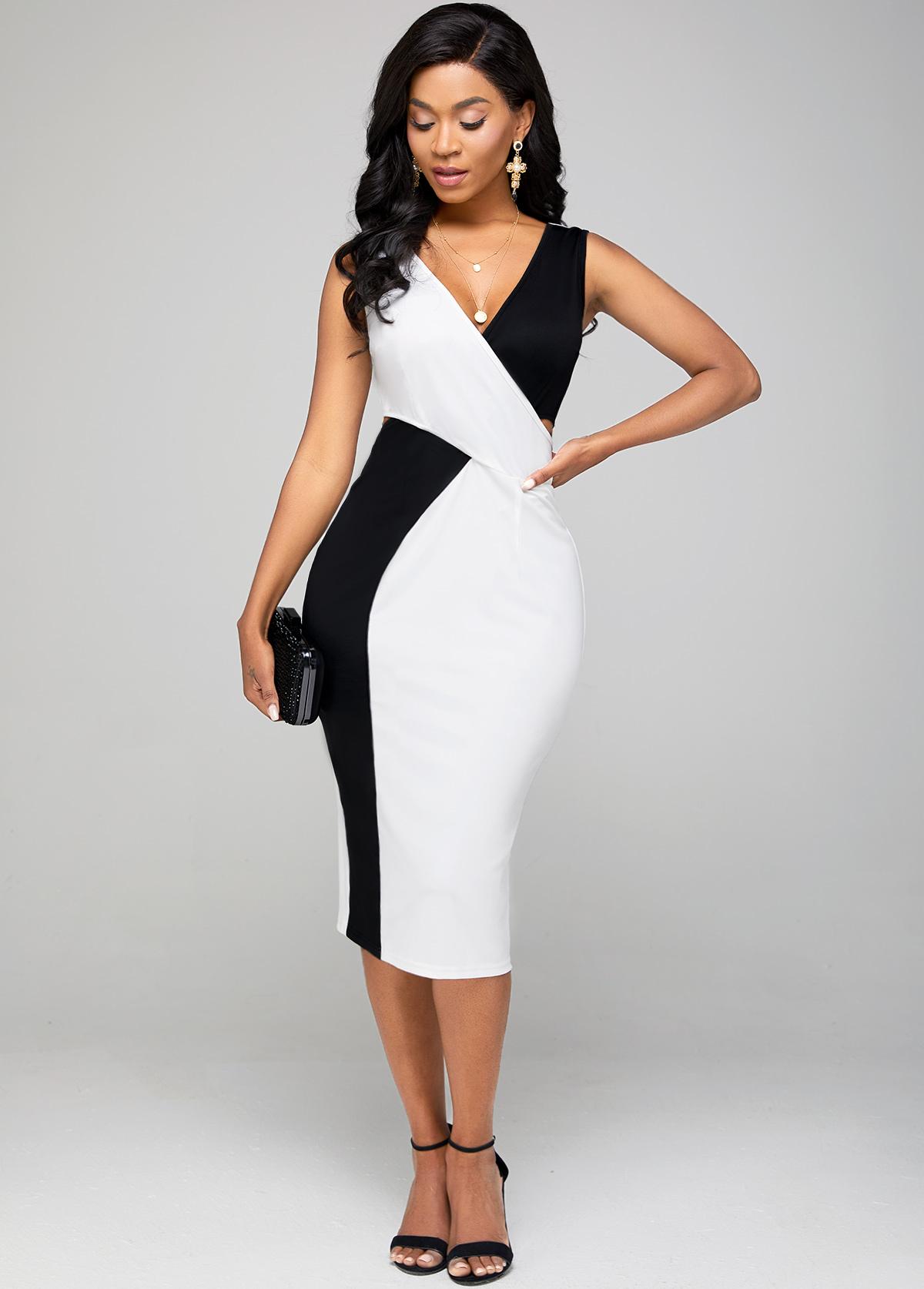 Color Block V Neck Sleeveless Bodycon Dress