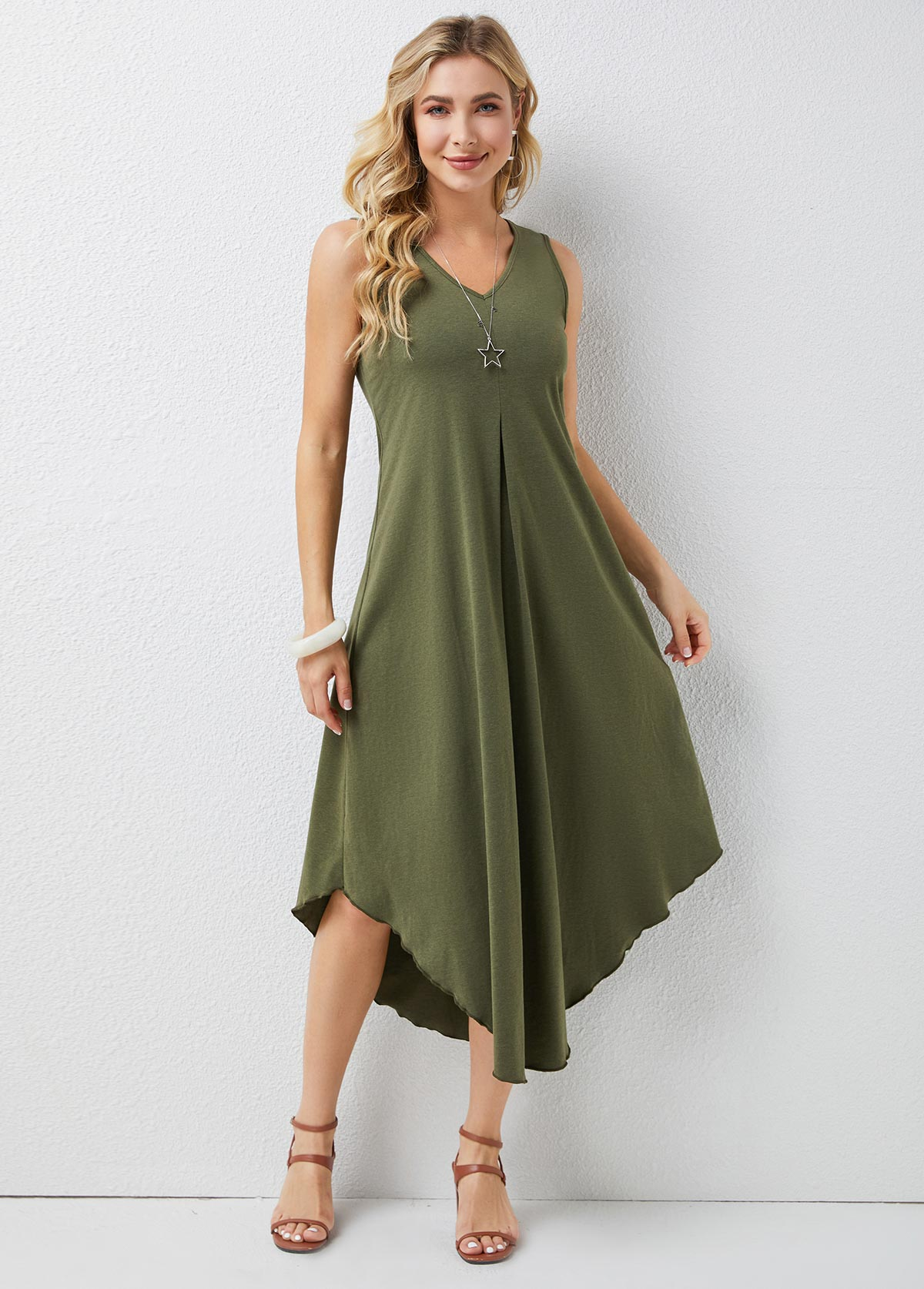 V Neck Sleeveless Asymmetric Hem Dress
