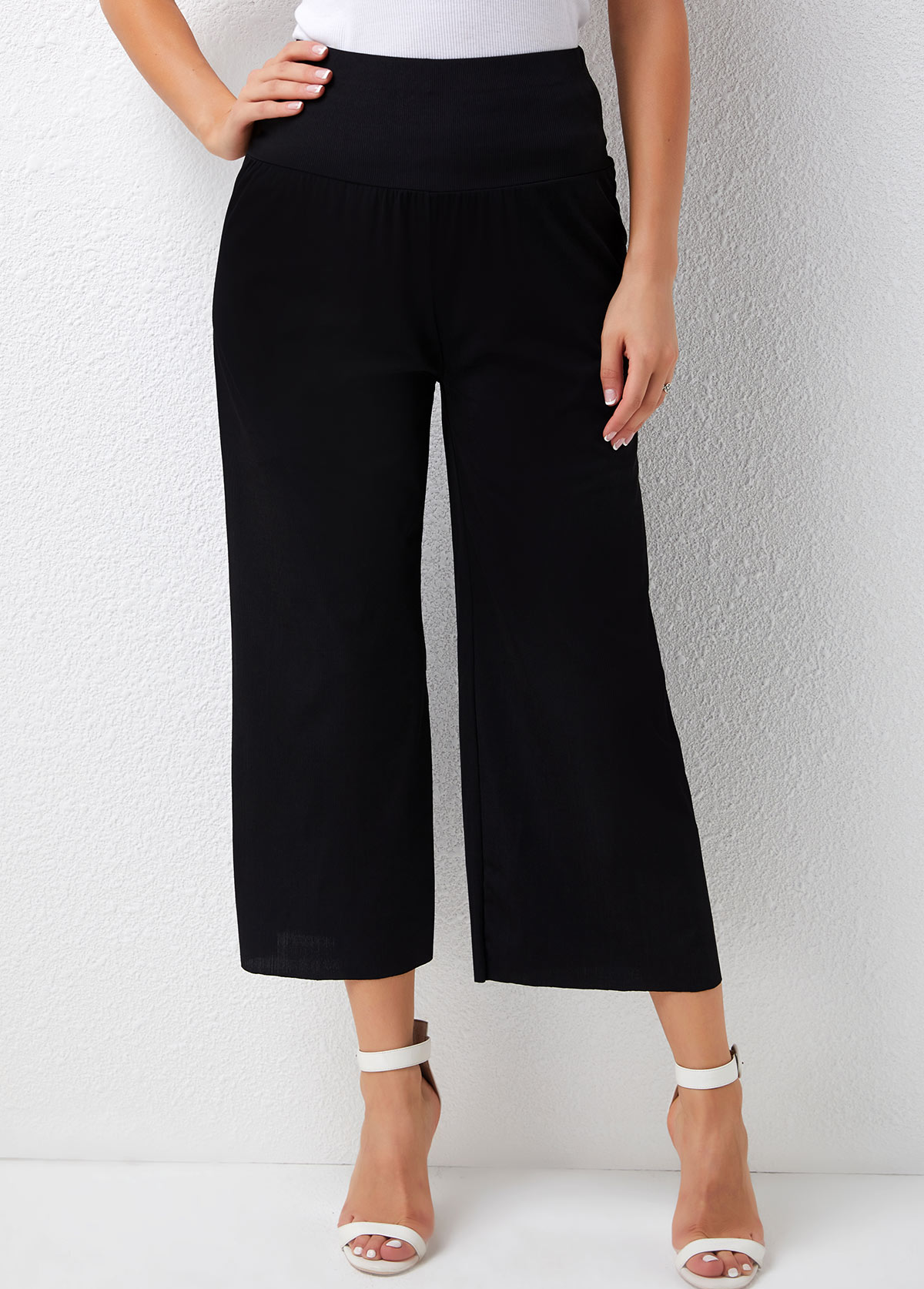 High Waisted Ribbed Solid Loose Pants