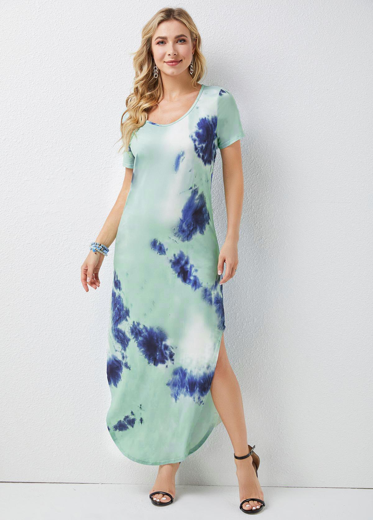 Tie Dye Print Round Neck Short Sleeve Dress