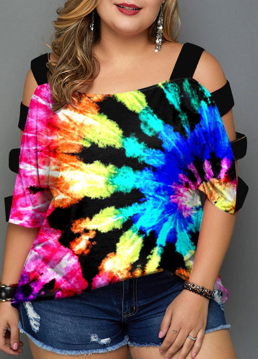 Plus Size Multicolor Tie Dye Print T Shirt