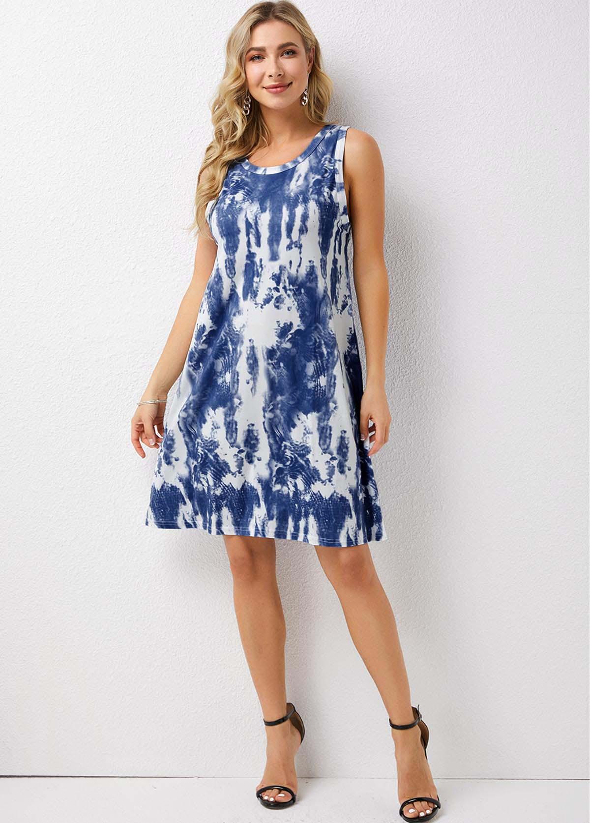 Tie Dye Print Sleeveless Round Neck Dress