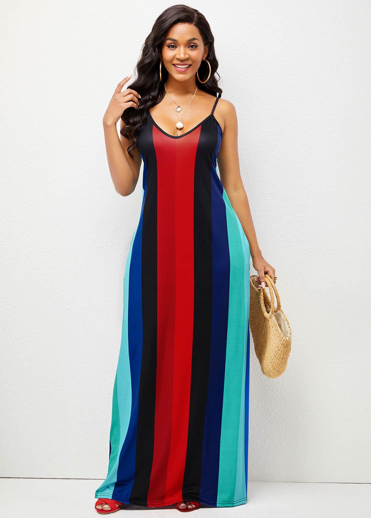 Spaghetti Strap Striped Pocket Maxi Dress