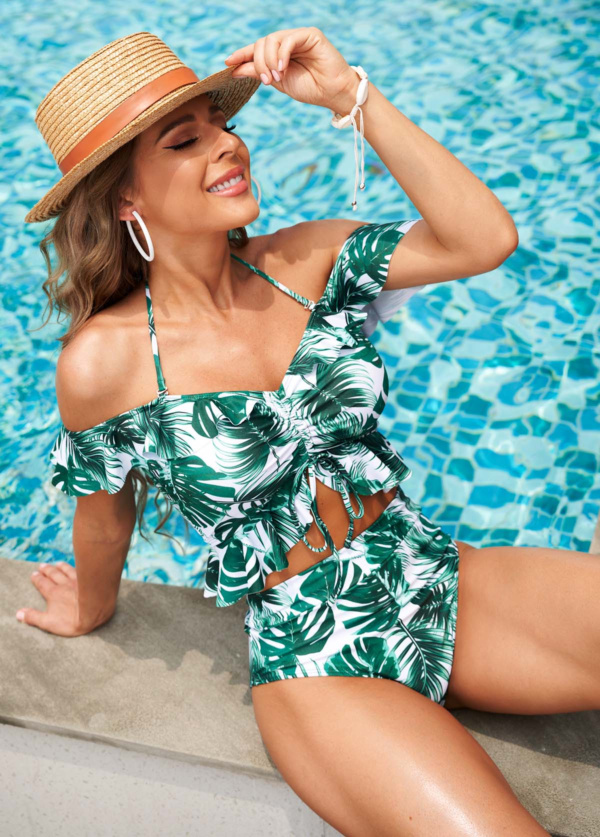 Tropical Print High Waisted Halter Bikini Set