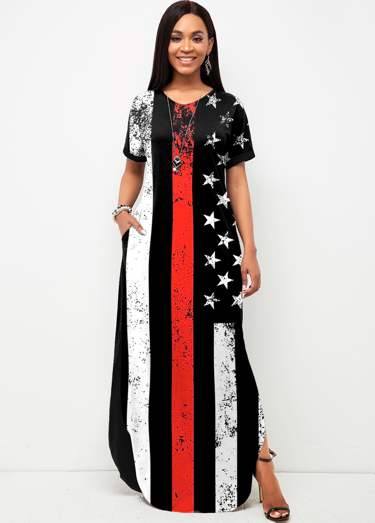 American Flag Print Side Slit Short Sleeve Dress