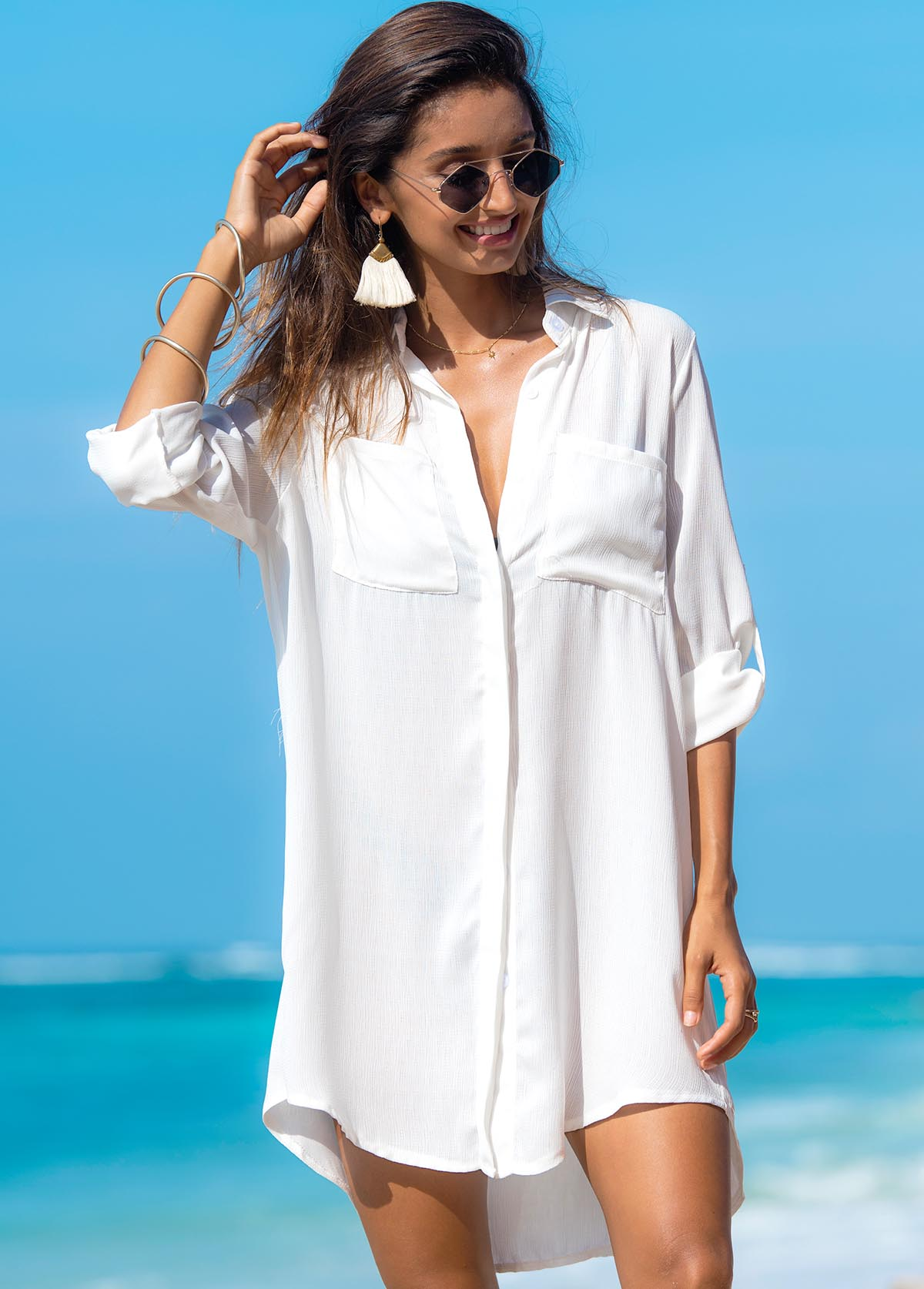 Turndown Collar Double Pocket Solid Cover Up