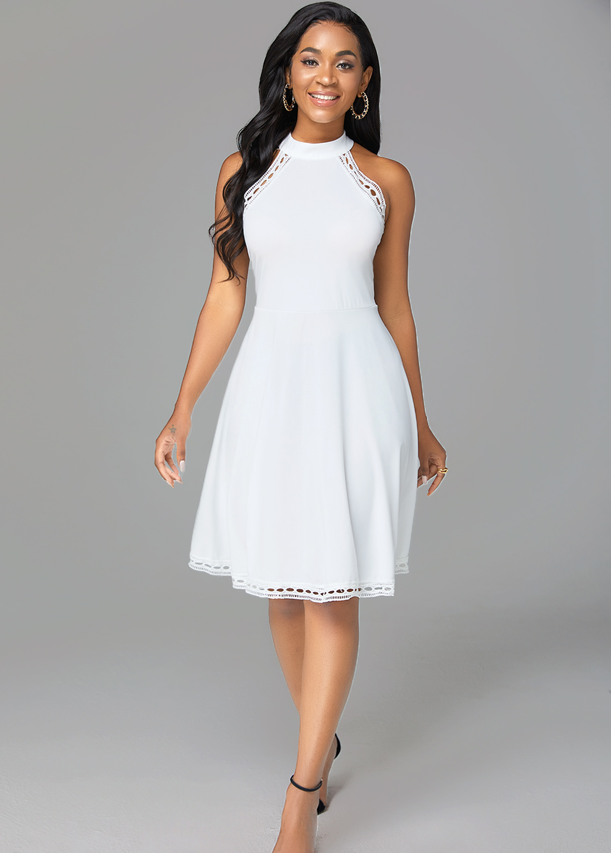 Pierced Mock Neck Sleeveless Solid Dress