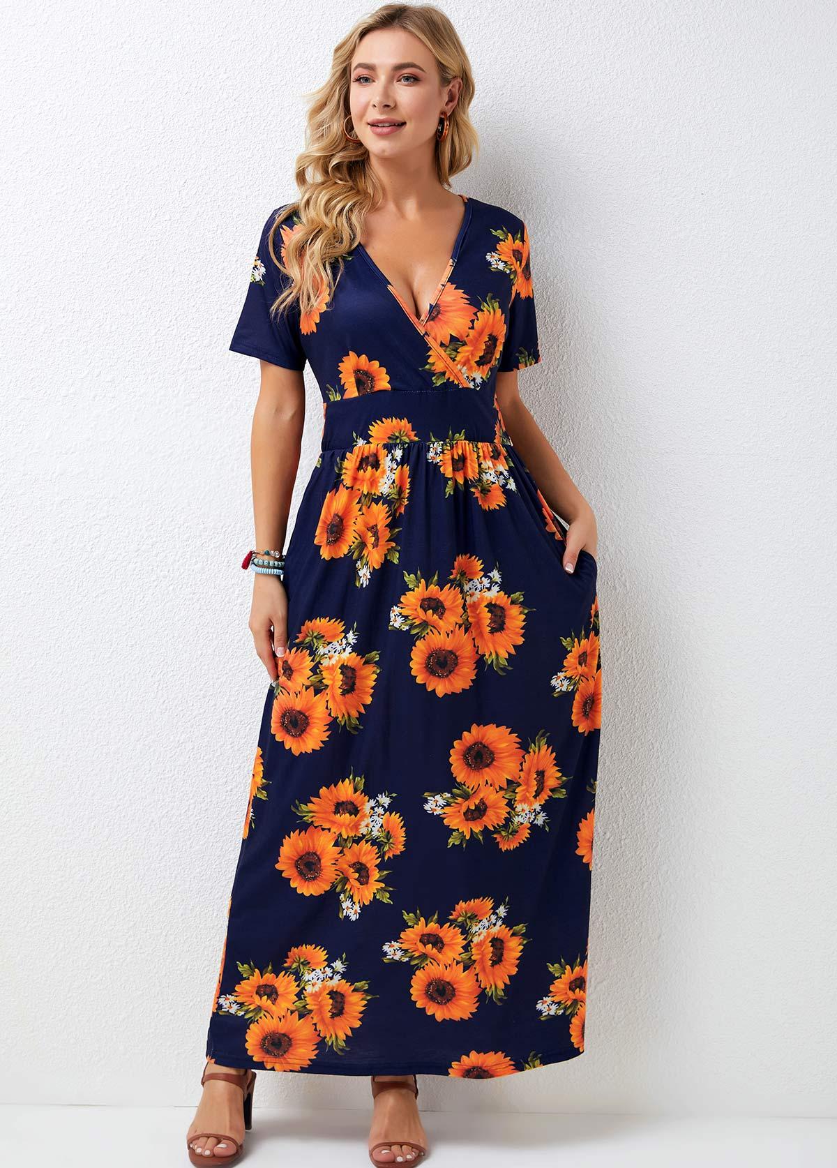 Sunflower Print Short Sleeve V Neck Maxi Dress