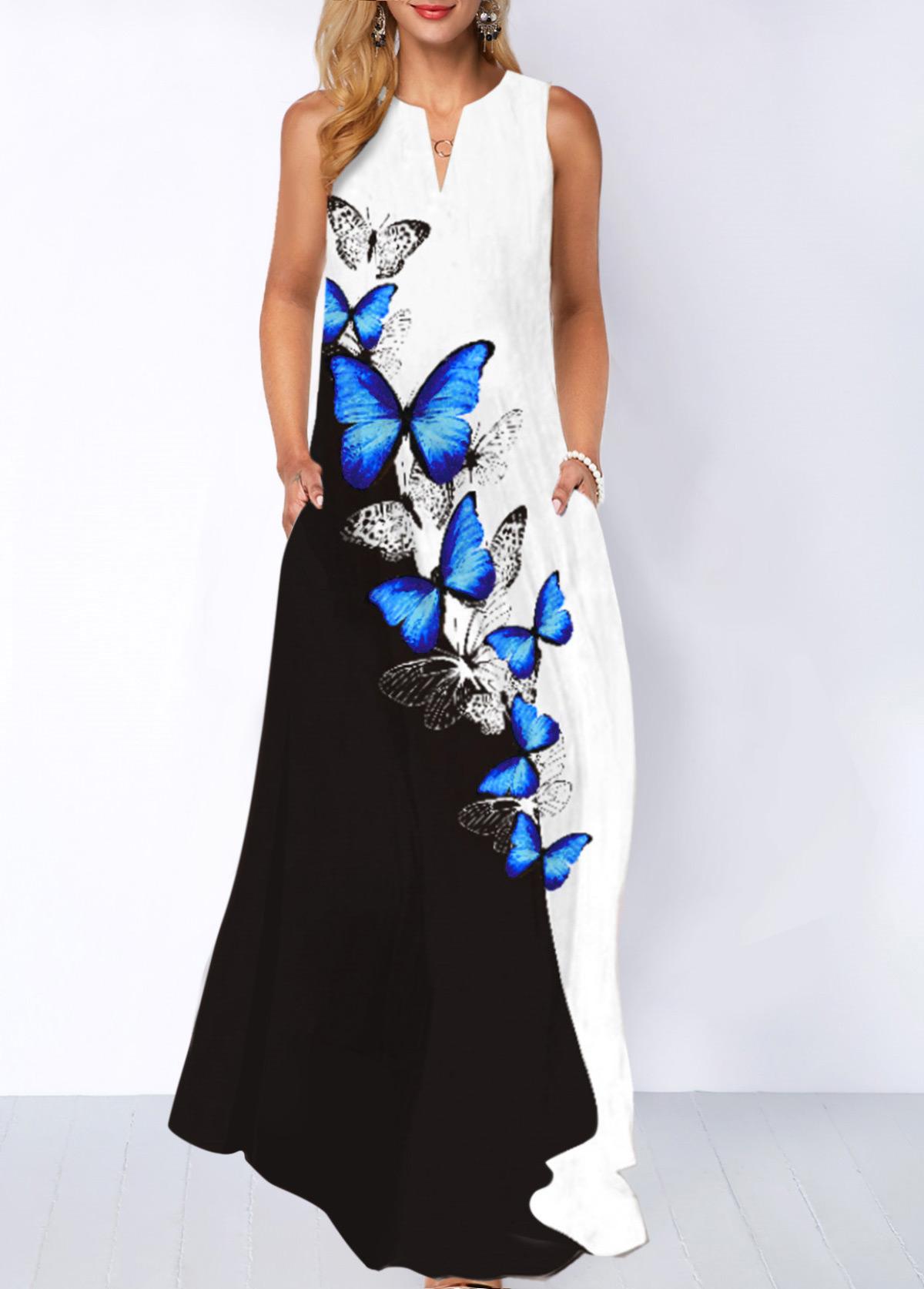 Butterfly Print Split Neck Pocket Dress