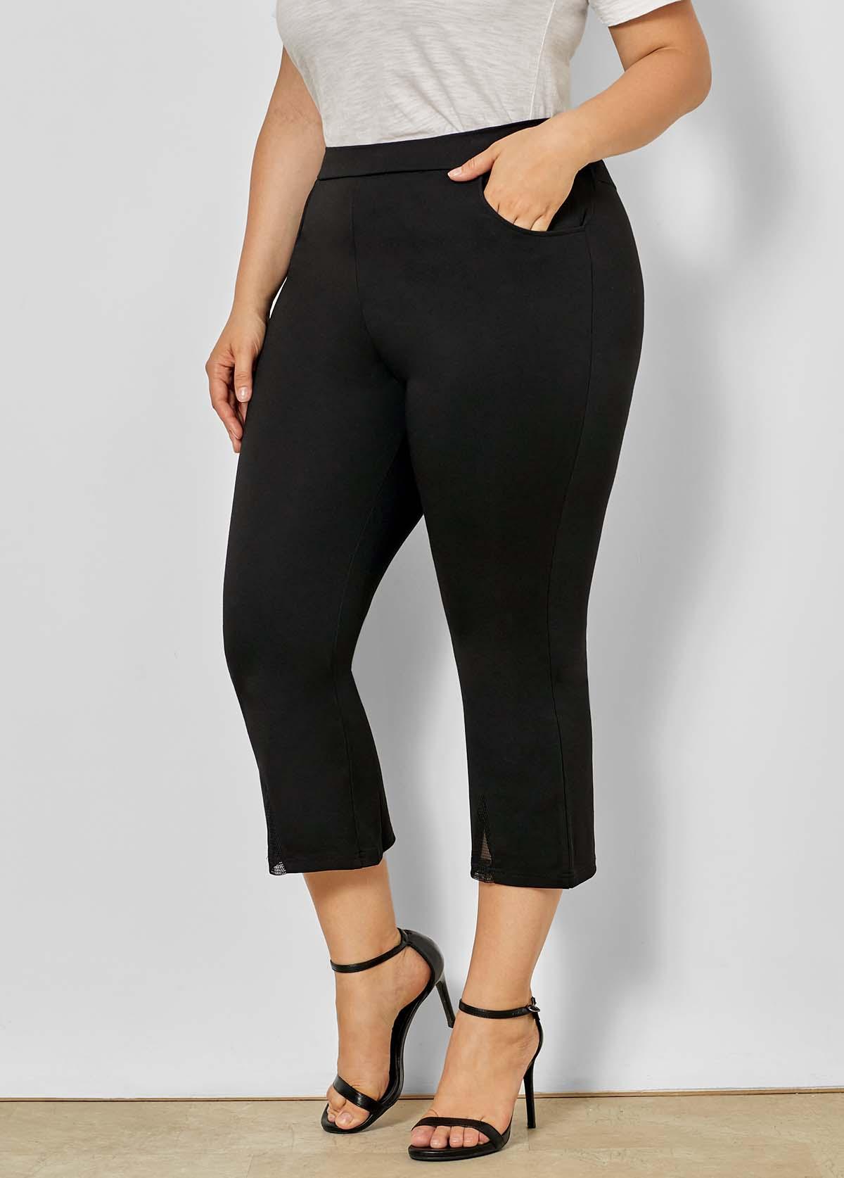 Plus Size Mid Waist Mesh Stitching Pants