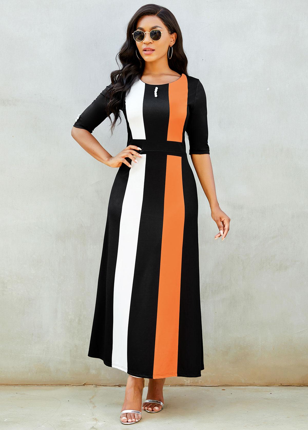 Color Block Round Neck Button Detail Dress